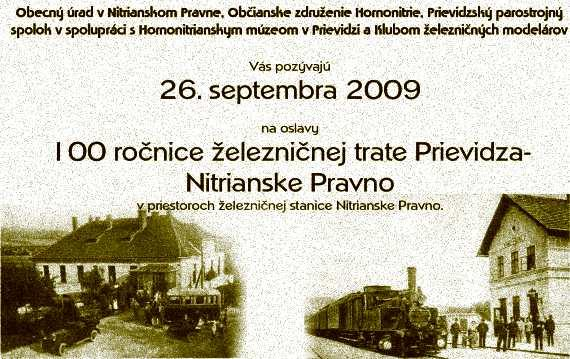 100 rokov trate Prievidza-Nitrianske Pravno